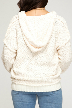 Shoptiques Product: LONG SLEEVE HOODED ZIP UP SWEATER WITH POCKETS