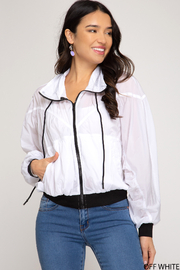 She and Sky Long sleeve hooded zip up windbreaker - Product Mini Image