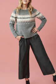 Tribal Long sleeve jaquard sweater - Front cropped