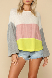 By Together  Long Sleeve Knit mixed Hacci oversized Top - Product Mini Image