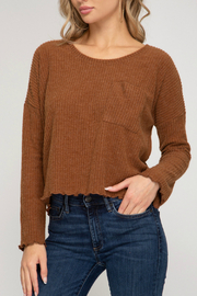 She and Sky Long Sleeve Knit Top - Front cropped