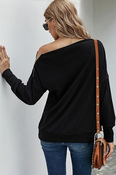 Shewin  Long Sleeve Knit Top with One Shoulder Zip - Alternate List Image