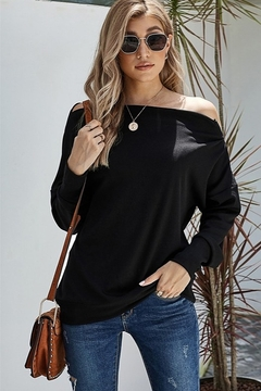 Shewin  Long Sleeve Knit Top with One Shoulder Zip - Product List Image