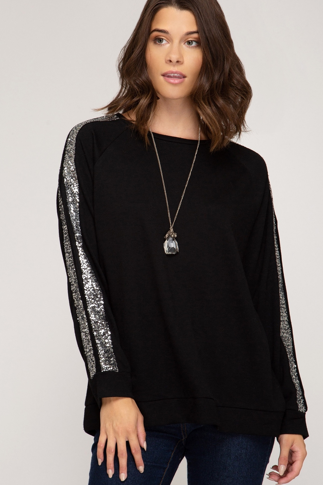 She and Sky LONG SLEEVE KNIT TOP WITH SEQUIN TRIM AND SLEEVE SLIT DETAILS - Main Image