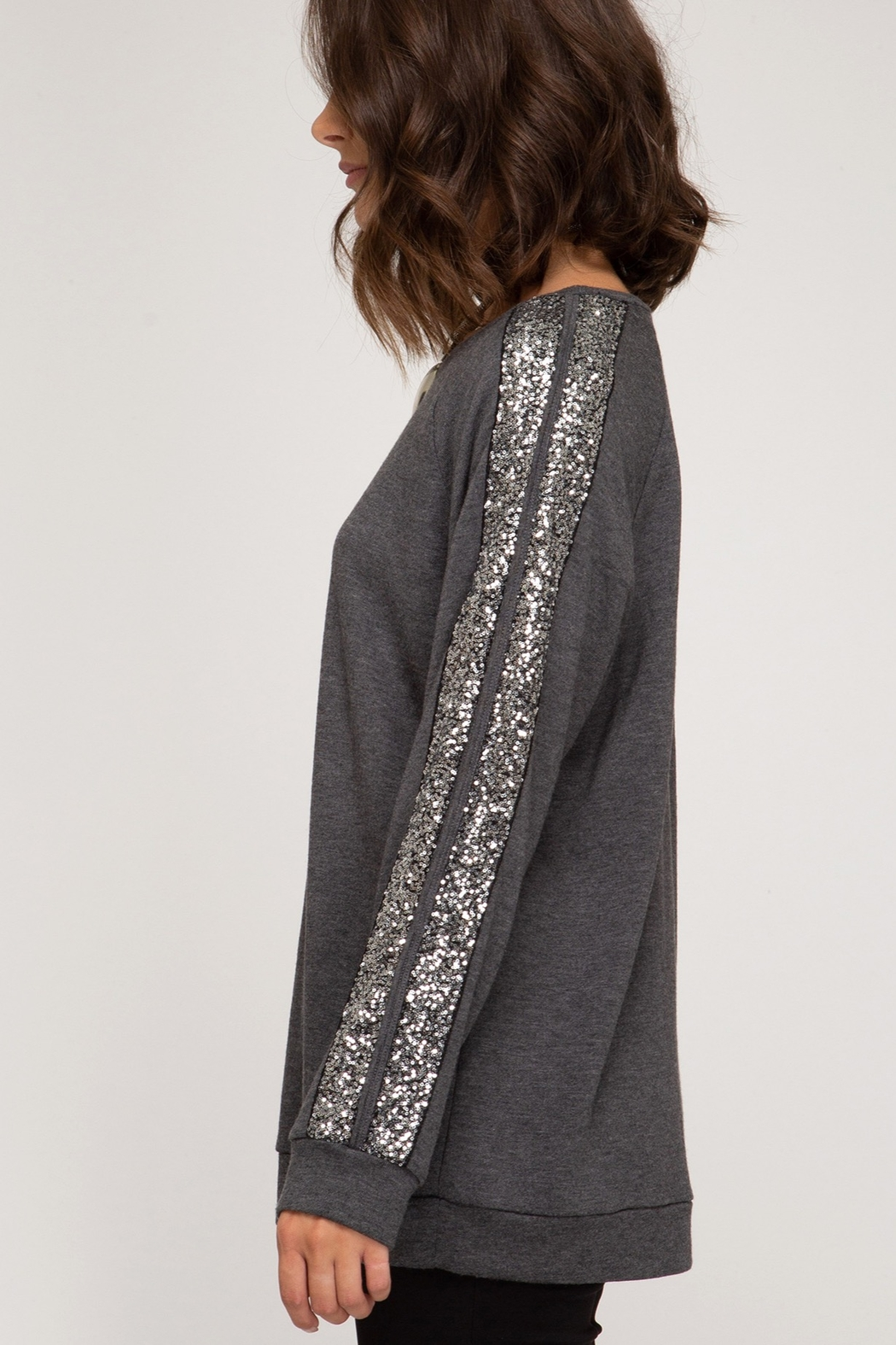 She and Sky LONG SLEEVE KNIT TOP WITH SEQUIN TRIM AND SLEEVE SLIT DETAILS - Front Full Image