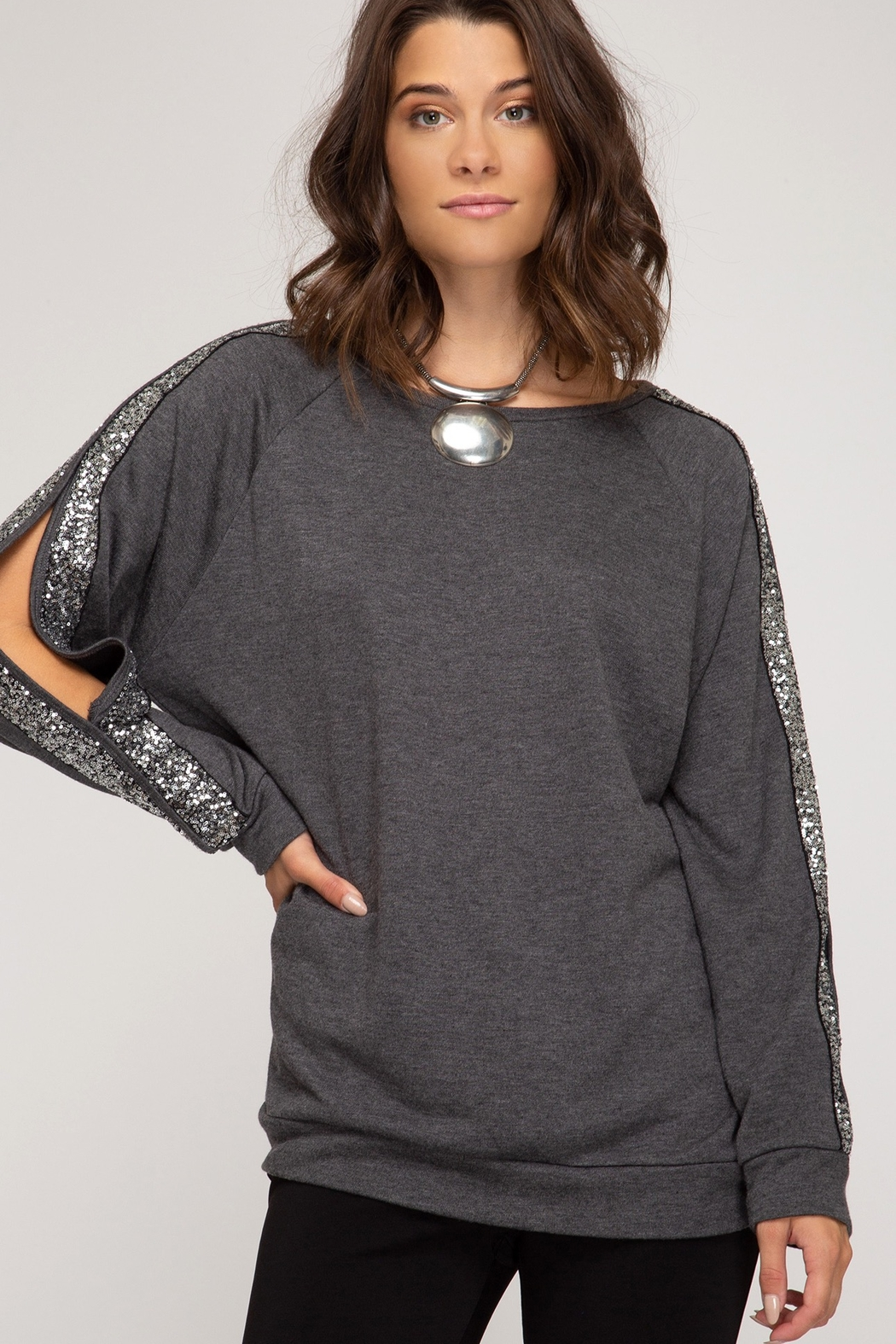 She and Sky LONG SLEEVE KNIT TOP WITH SEQUIN TRIM AND SLEEVE SLIT DETAILS - Front Cropped Image