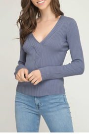 She + Sky Long sleeve knit V neck sweater - Product Mini Image