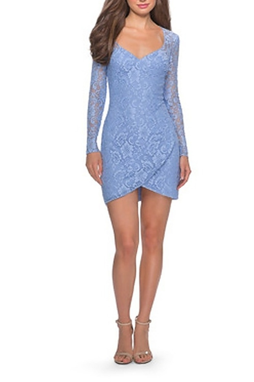 La Femme Long Sleeve Lace Short Dress With Sheer Back Detail - Main Image