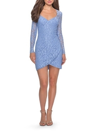 La Femme Long Sleeve Lace Short Dress With Sheer Back Detail - Front cropped