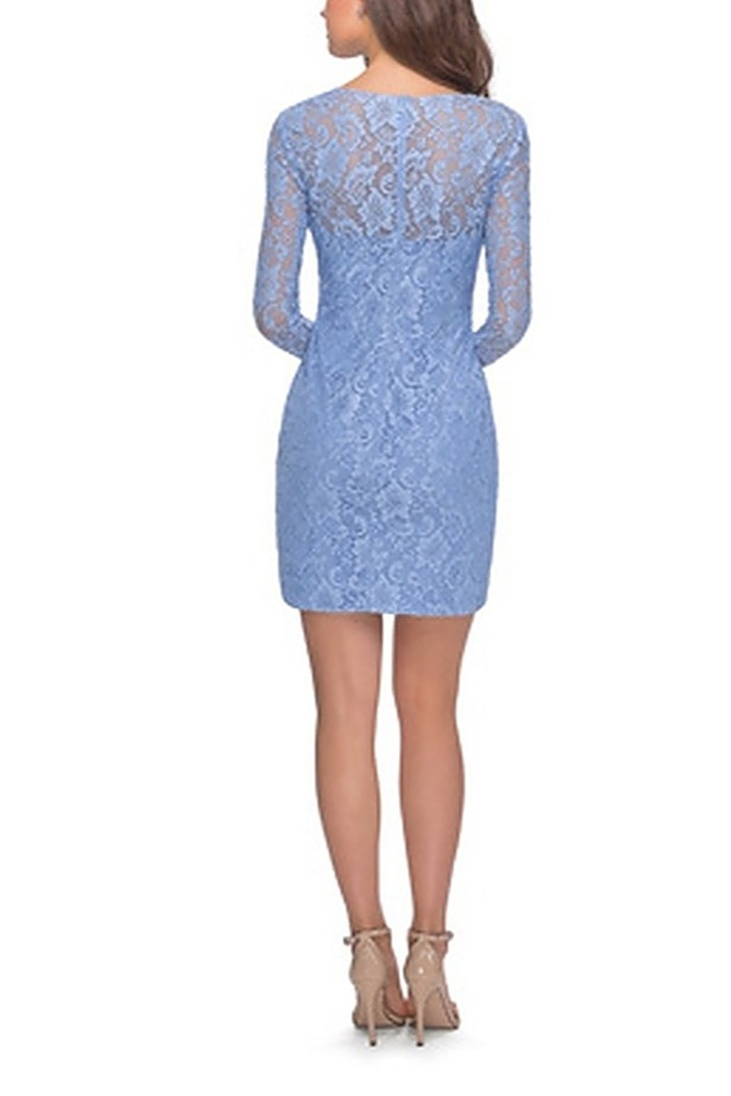 La Femme Long Sleeve Lace Short Dress With Sheer Back Detail - Front Full Image