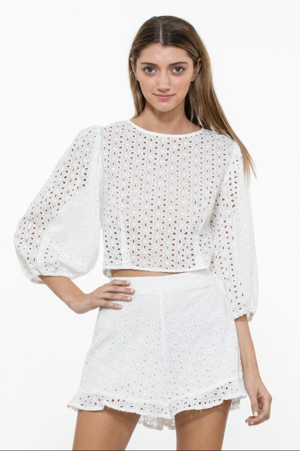 En Creme Long-Sleeve Lace Top from California by Rose ...