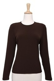 Ricci Fashions Long Sleeve Layer Shell Top Brown XS-XL - Front cropped