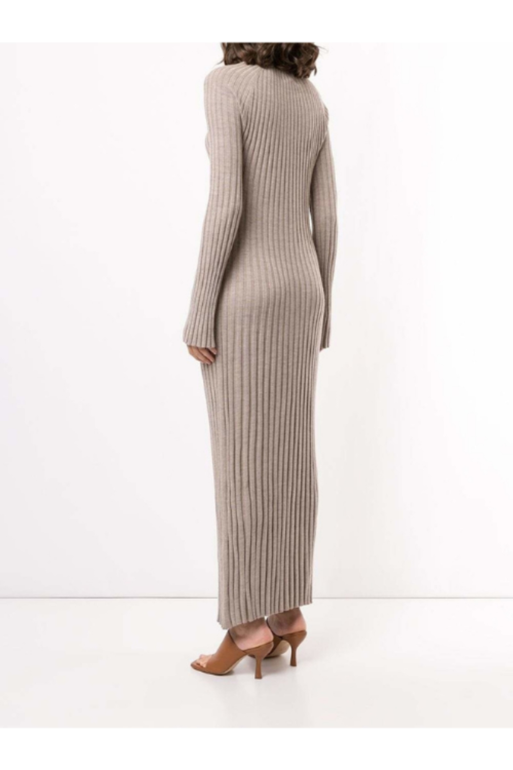 LouLou Studio Long Sleeve Maxi Pleated Knit Dress - Side Cropped Image