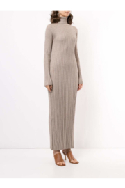LouLou Studio Long Sleeve Maxi Pleated Knit Dress - Front full body