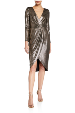 Aidan Mattox Long Sleeve Metallic Foil Dress - Product List Image