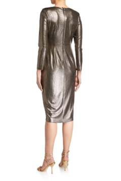 Aidan Mattox Long Sleeve Metallic Foil Dress - Alternate List Image