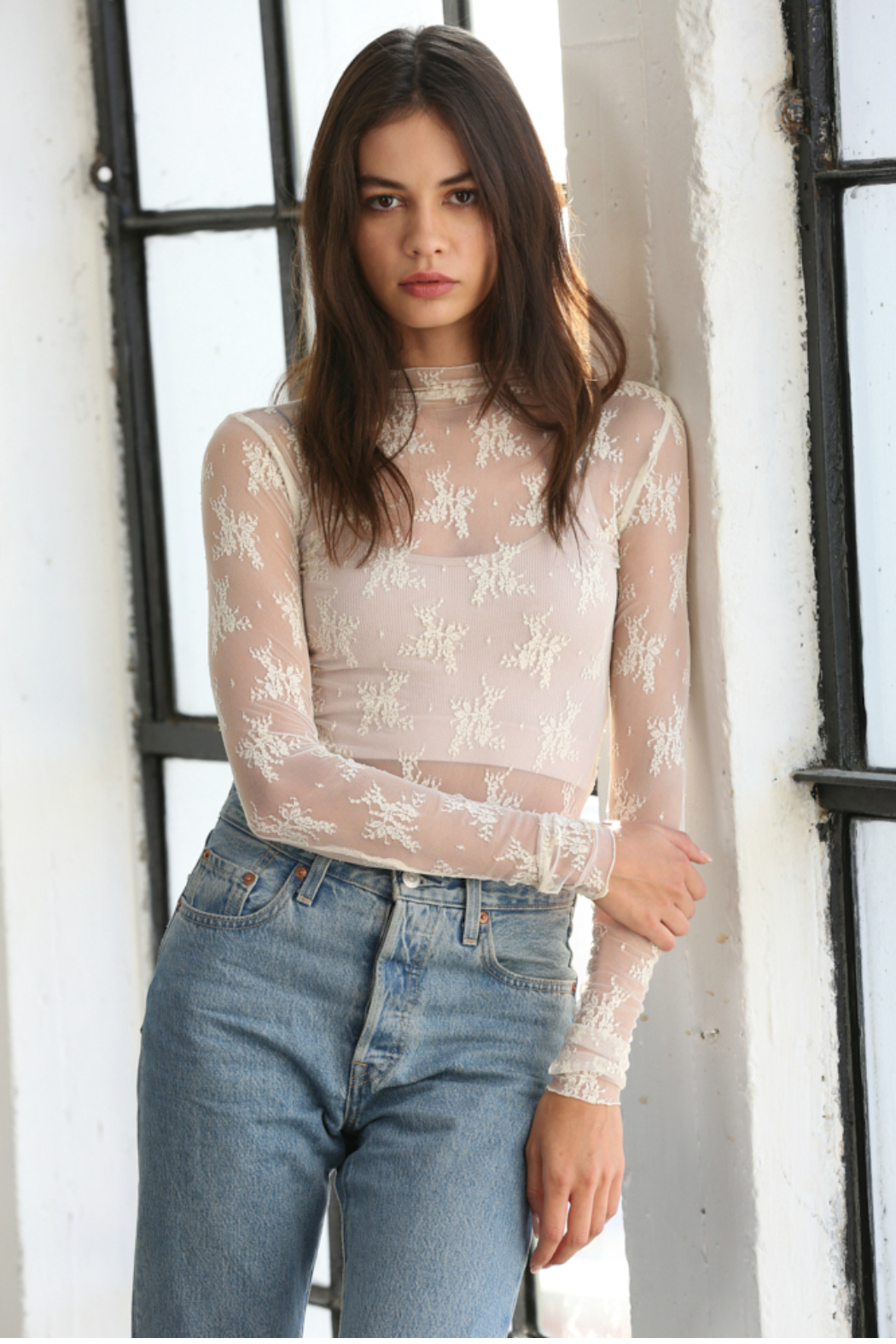 By Together  Long Sleeve Mock Neck Fitted Laced Top - Front Cropped Image