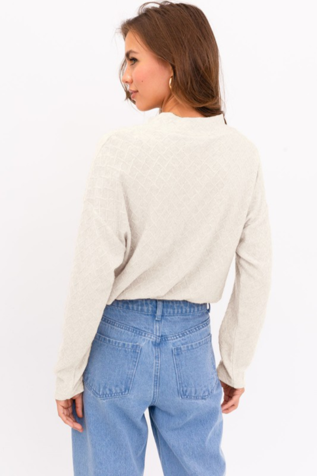 Le Lis Long Sleeve Mock Neck Texture Knit Top - Front Full Image