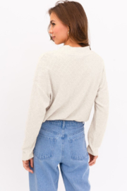 Le Lis Long Sleeve Mock Neck Texture Knit Top - Front full body