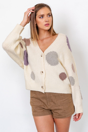 Gilli  Long Sleeve Multi Dot Knit Cardigan - Product Mini Image