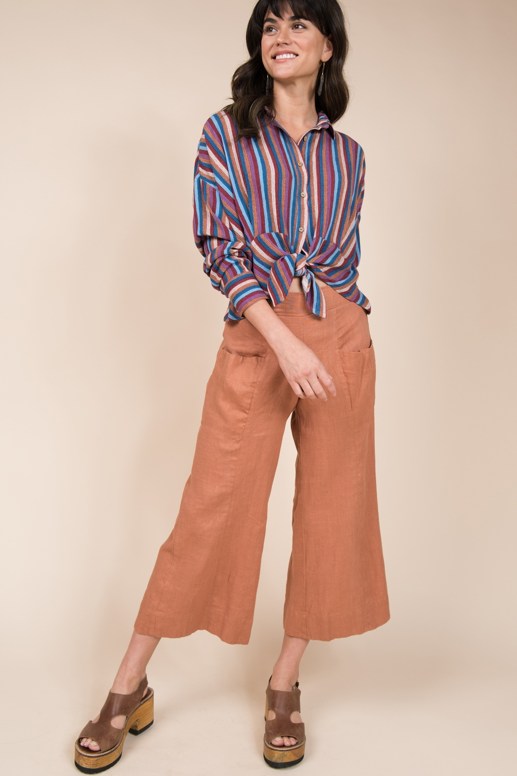 Ivy Jane Long Sleeve Multi Stripe Button Up - Front Full Image