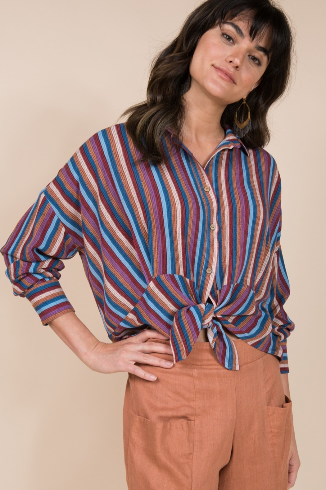 Ivy Jane  Long Sleeve Multi Stripe Button Up - Side Cropped Image
