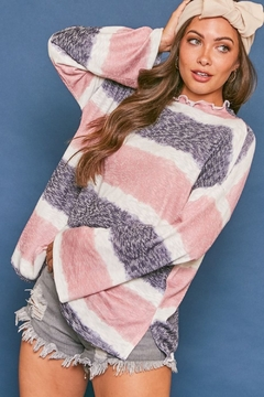 Fantastic Fawn  Long Sleeve Multi Stripe Knit High Neck Top - Product List Image