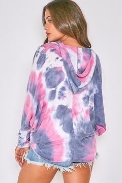 Fantastic Fawn Long Sleeve Multi Tie Dye Hoodie Top - Alternate List Image