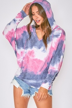 Fantastic Fawn Long Sleeve Multi Tie Dye Hoodie Top - Product List Image