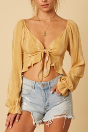 Cotton Candy LA Long-Sleeve Mustard Crop-Top - Product Mini Image
