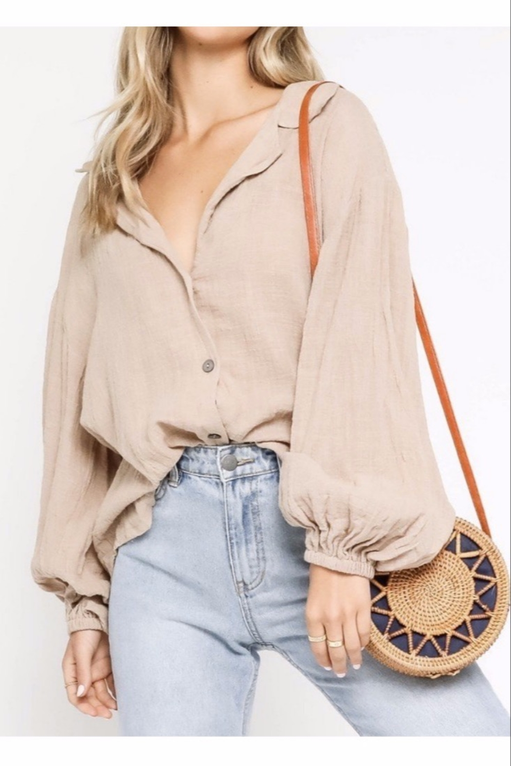 Olivaceous  Long Sleeve Natural Button-down - Main Image