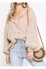 Olivaceous  Long Sleeve Natural Button-down - Front cropped