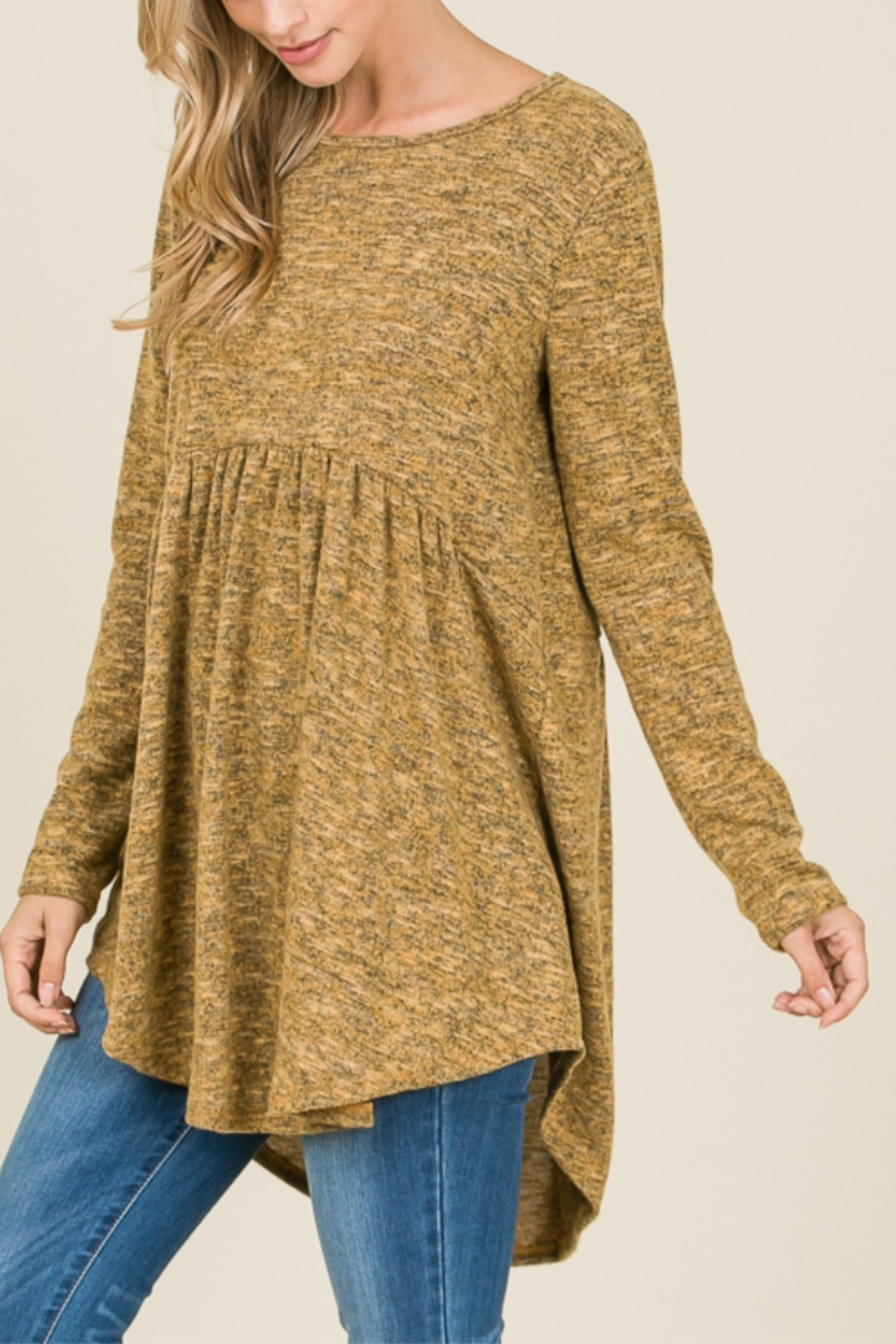 Reborn J Long Sleeve Peplum Sweater {{OLIVE}} - Main Image