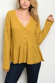 Lyn -Maree's Long Sleeve Peplum Top - Front cropped