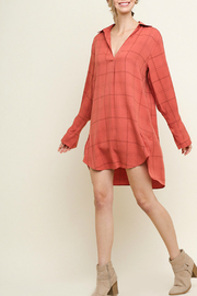Umgee USA Long Sleeve Plaid Print V-Neck Collared Dress - Front cropped
