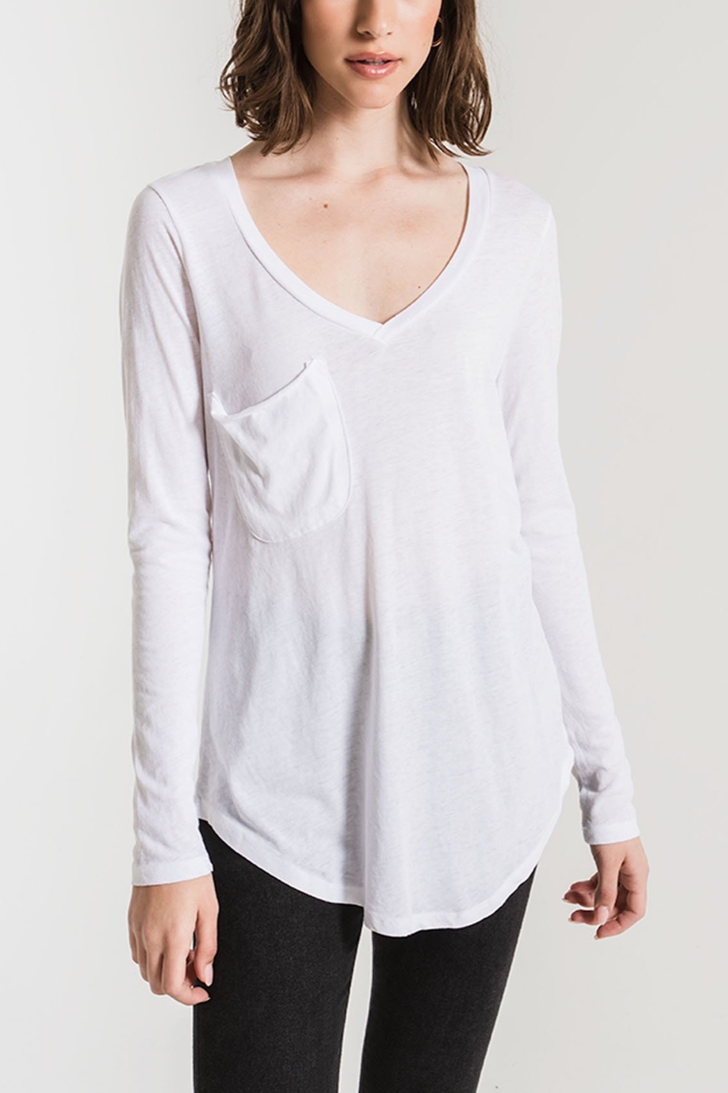 z supply Long Sleeve Pocket Tee - Front Cropped Image