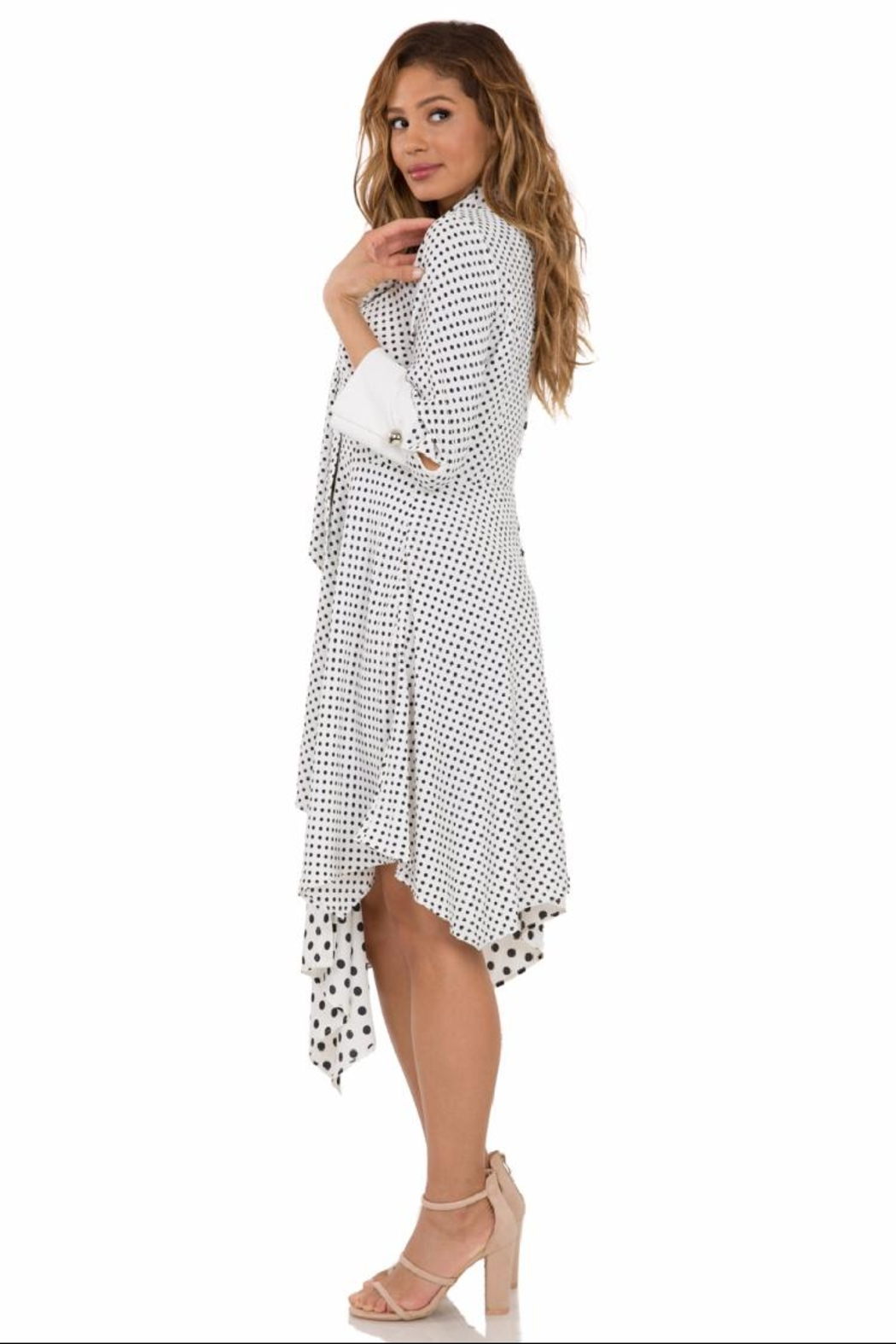 cq by cq Long-Sleeve Polkadot Dress - Front Full Image