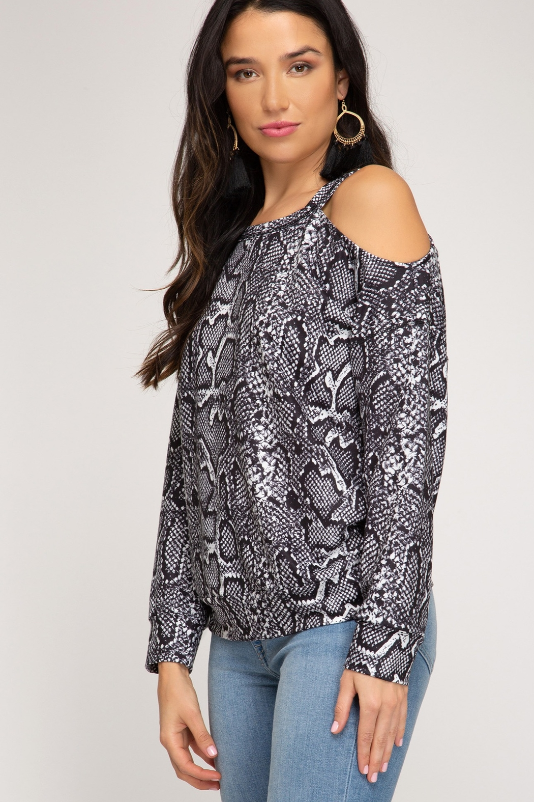 She and Sky LONG SLEEVE REPTILE PRINTED TOP - Front Full Image