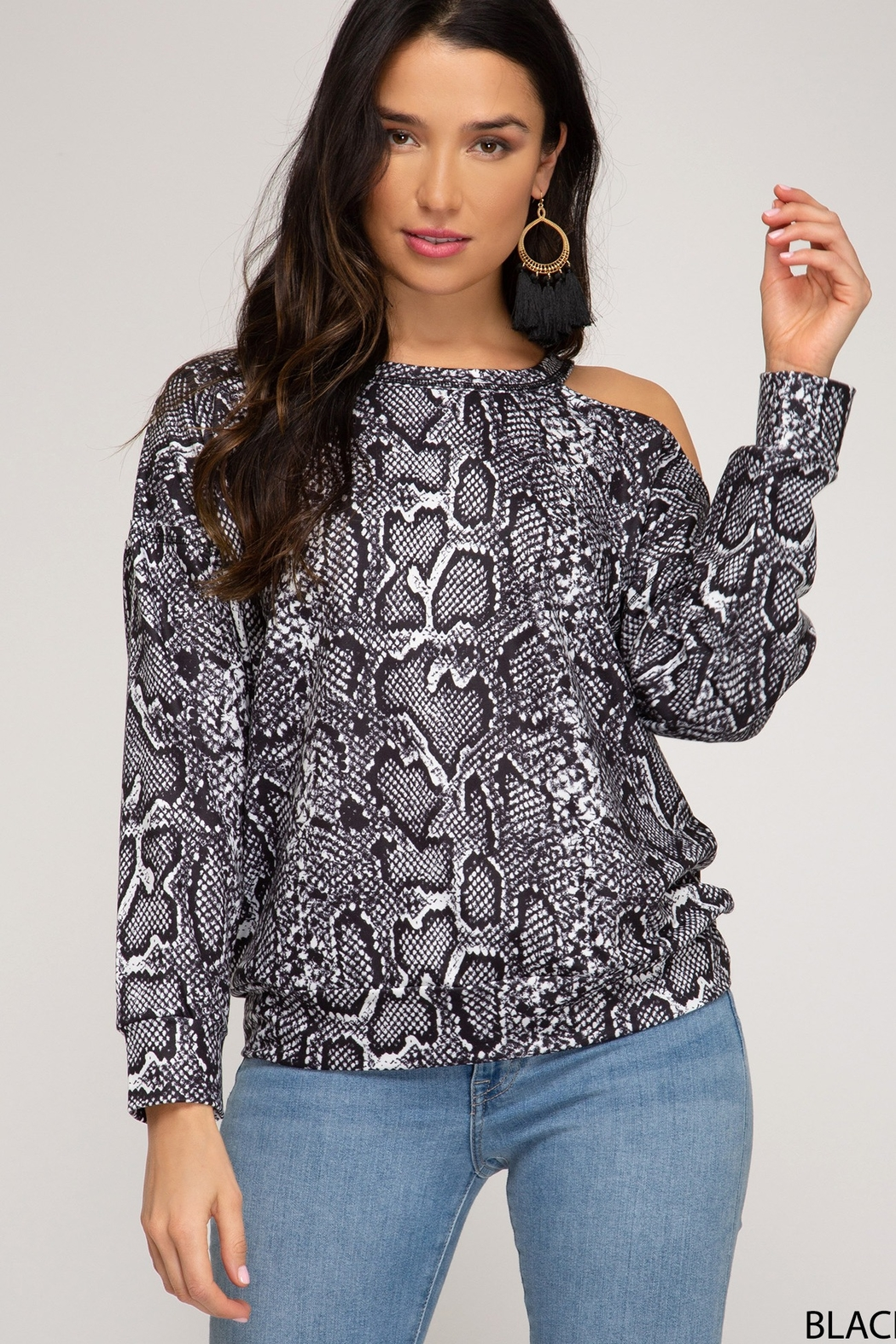She and Sky LONG SLEEVE REPTILE PRINTED TOP - Main Image