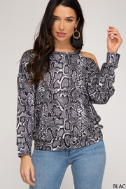 She and Sky LONG SLEEVE REPTILE PRINTED TOP - Front cropped