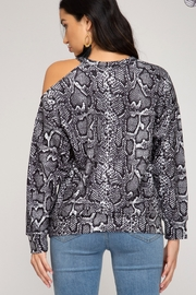 She and Sky LONG SLEEVE REPTILE PRINTED TOP - Side cropped