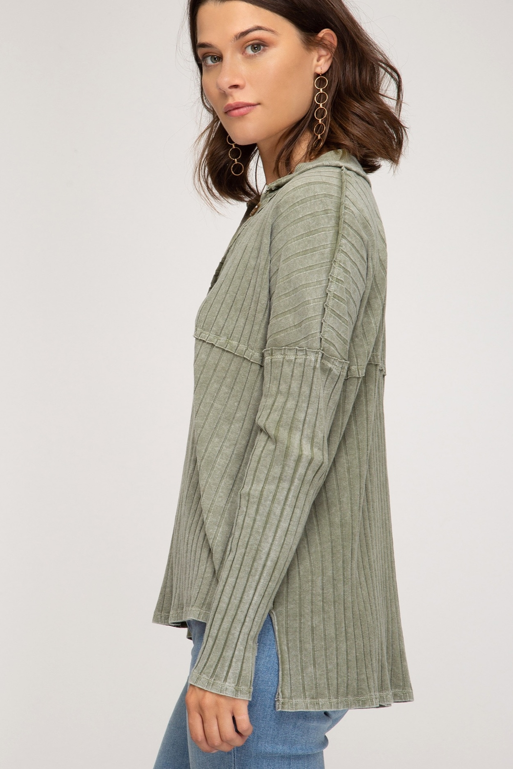 She and Sky LONG SLEEVE RIB KNIT TOP WITH FRONT BUTTON PLACKET DETAIL - Front Full Image