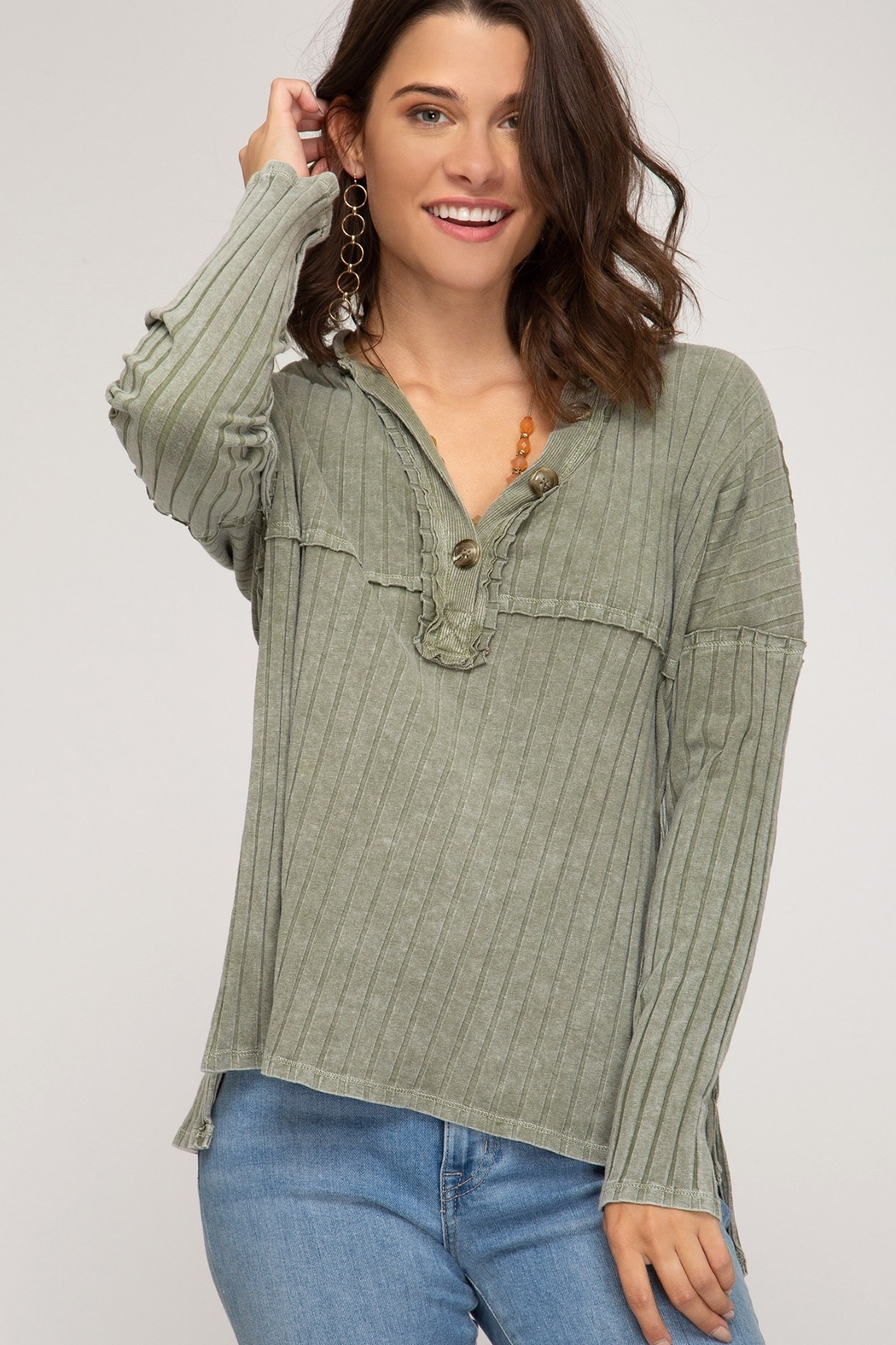 She and Sky LONG SLEEVE RIB KNIT TOP WITH FRONT BUTTON PLACKET DETAIL - Main Image