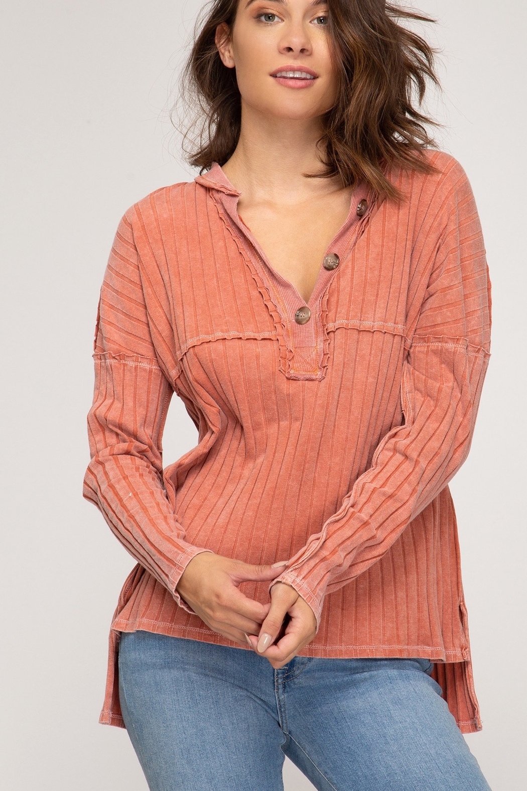 She and Sky LONG SLEEVE RIB KNIT TOP WITH FRONT BUTTON PLACKET DETAIL - Front Cropped Image