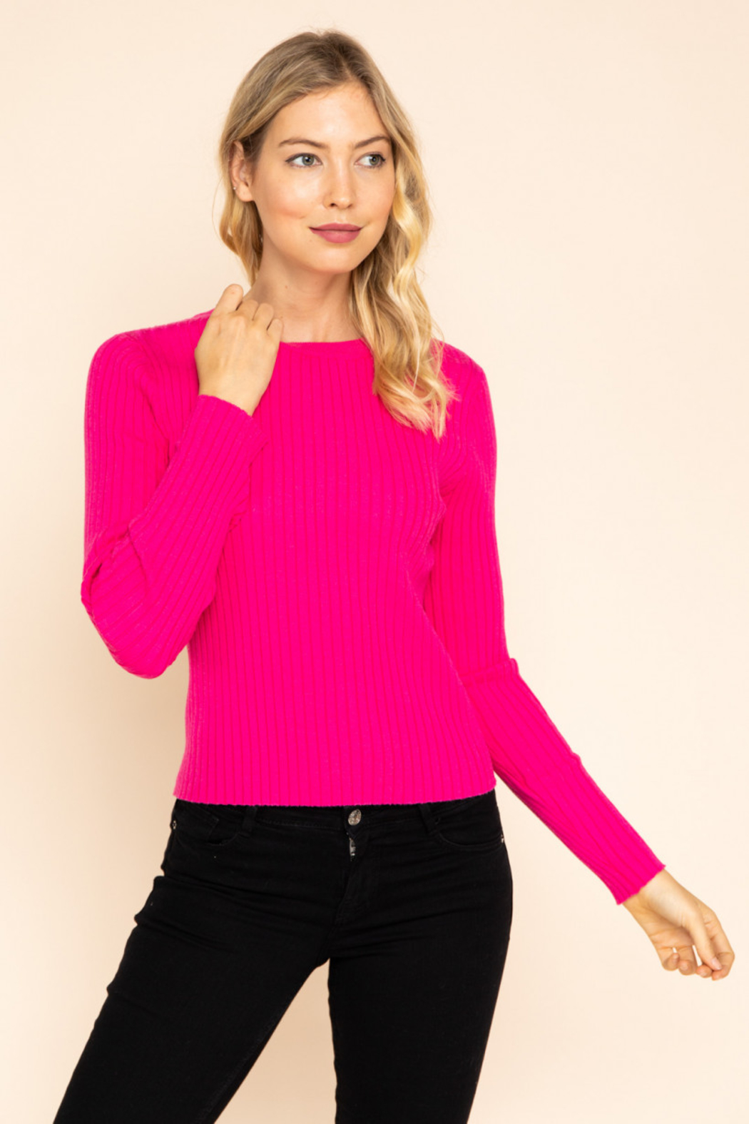 Gilli  Long Sleeve Ribbed Top - Front Cropped Image