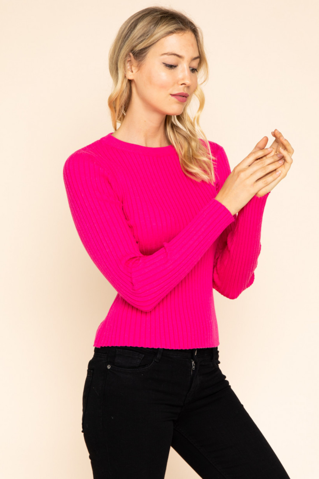 Gilli  Long Sleeve Ribbed Top - Side Cropped Image