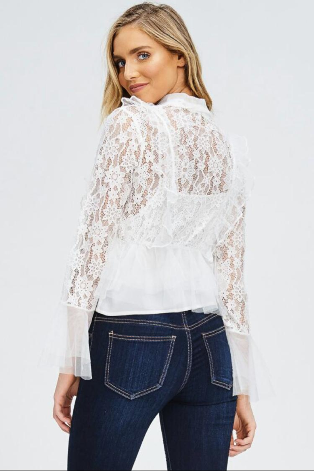 the clothing company Long-Sleeve Ruffle Top - Front Full Image