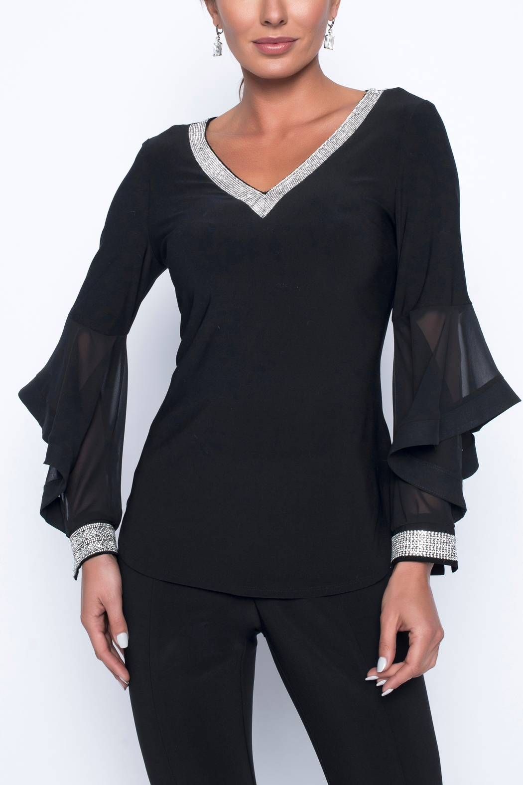 Frank Lyman Long Sleeve Sequin Blouse - Front Cropped Image