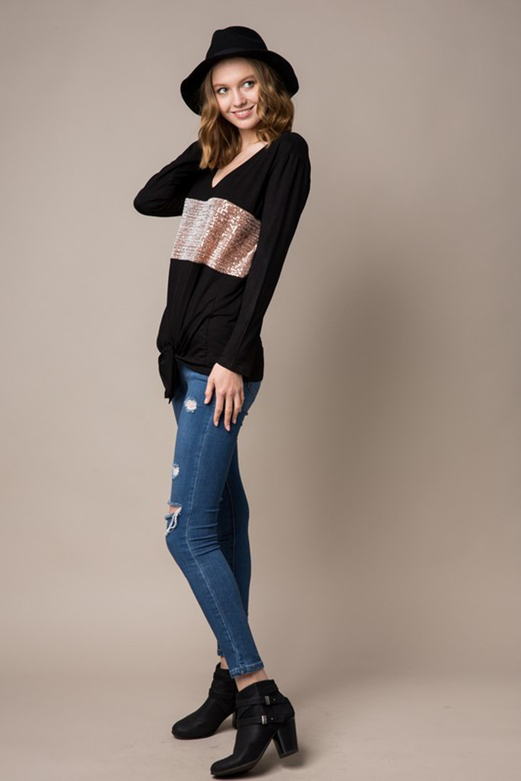 Cezanne Long Sleeve Sequin Knit Tunic with Tie Front - Side Cropped Image