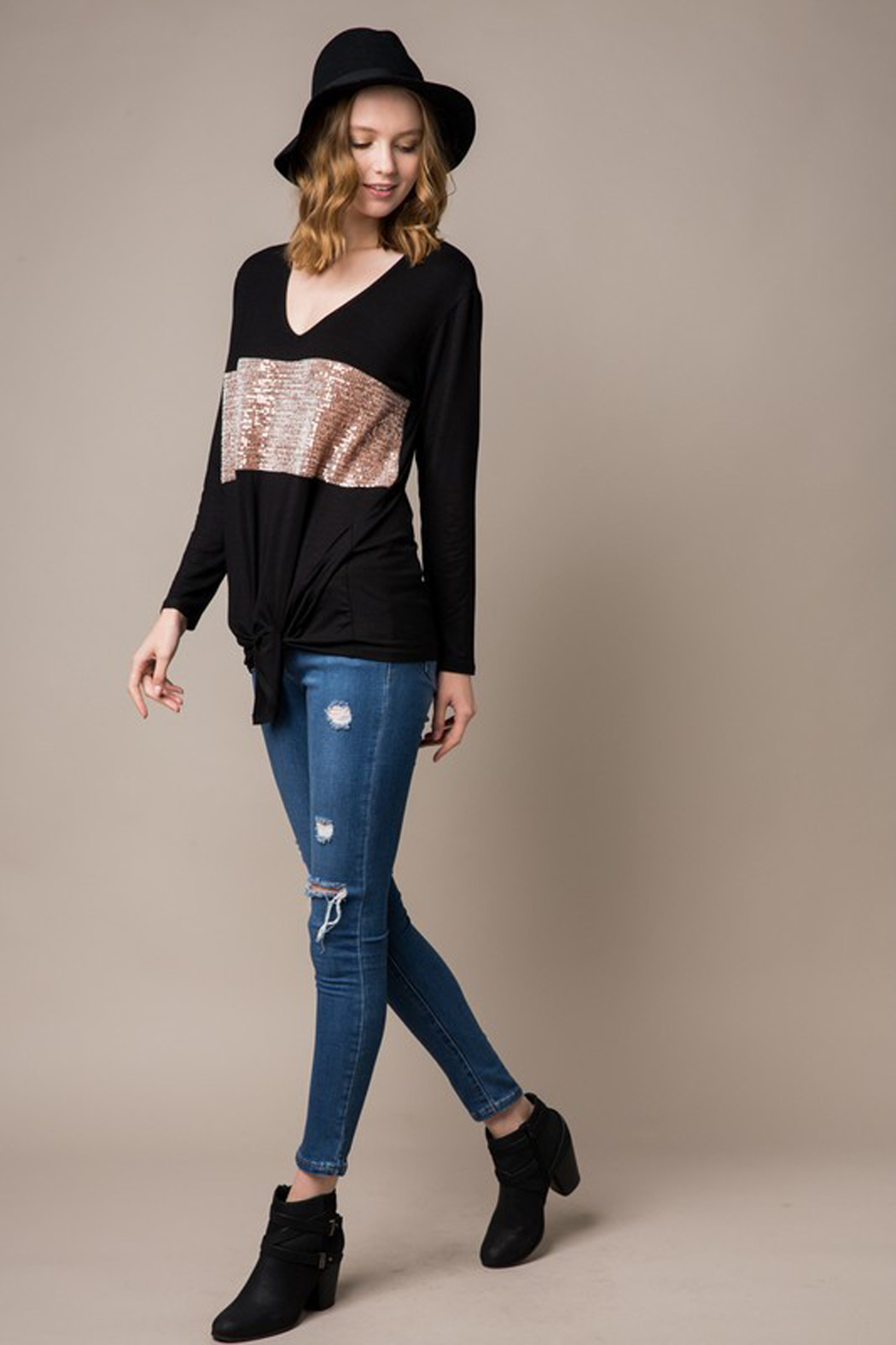 Cezanne Long Sleeve Sequin Knit Tunic with Tie Front - Back Cropped Image